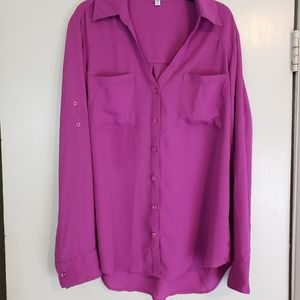 Express pink button down career blouse